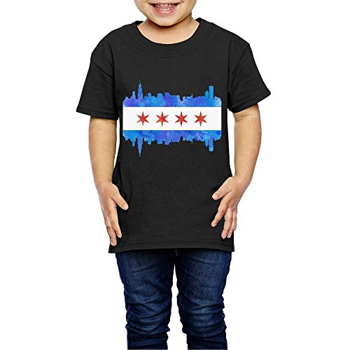 Chicago Toddler Shirt (LittleMonsterLove Chicago State Flag Watercolor City Skyline Kids Casual T Shirt Comfy Short Sleeve Top Tee Round Neck 2 Toddler)
