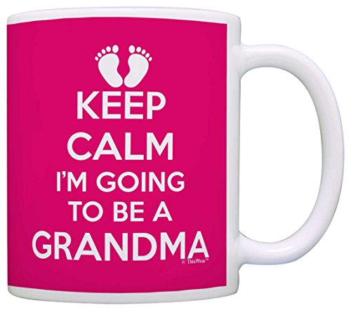Mothers Day Gifts Keep Calm I'm Going to be a Grandma Expecting Grandma Gift Coffee Mug Tea Cup Pink