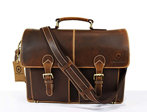 Vintage Handmade Crossbody Distressed Leather Laptop Messenger Bag Briefcase, Gift Men Women, By Aaron Leather, 15 x 12x 4 Inches