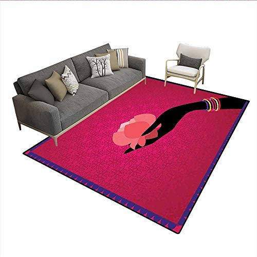 Carpet,Silhouette of Woman Hand with Bangles Holding a Japanese Flower Asian Folklore Design,Non Slip Rug Pad,Multicolor 6'6
