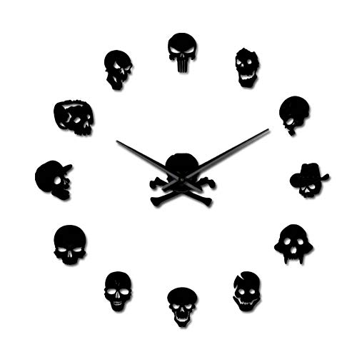 The Geeky Days Halloween Skull Heads Giant DIY Large Wall Clock with Mirror Effect Wall Art Home Decor Frameless Big Time Clock Watch(Black)