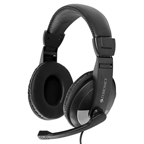 Zebronics Zeb-200HM Headphone with Mic, Dual 3.5mm Connectors, Adjustable Headband & Mic, for PC Computers/Laptop