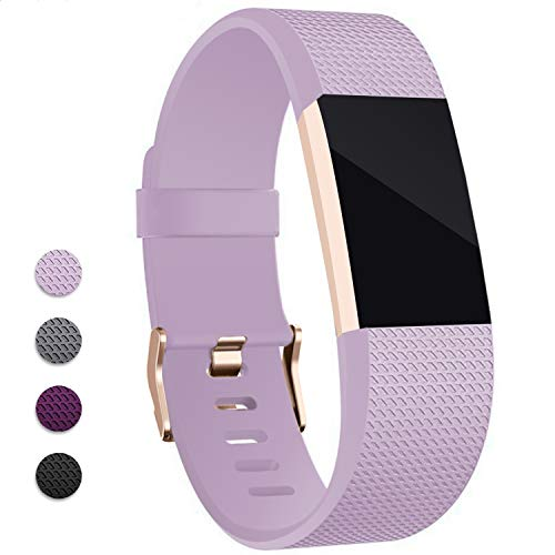 Hotodeal Band Compatible Fitbit Charge 2 Band, Classic Soft TPU Adjustable Replacement Bands Fitness Sport Strap, Rose Gold Buckle, Small Lavender