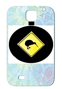Tear-resistant Kiwi Crossing New Zealand Yellow Symbols Shapes Black Oval Nz Kiwi Sign Icons TPU White Cover Case For Sumsang Galaxy S4