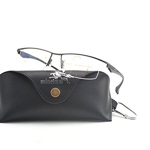 MINCL/Progressive Multifocus Reading Glasses Mens Business Adjustable Vision Eyewear (gun, 1.5) by mincl (Image #1)