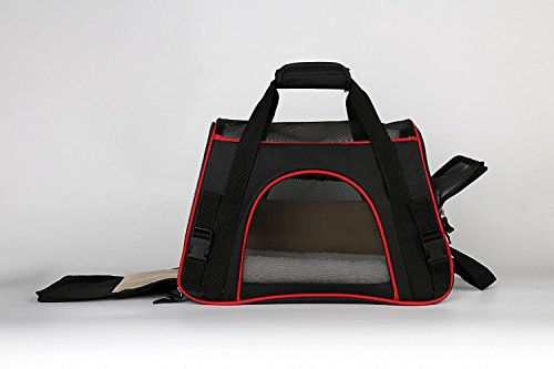 Little World Breathable Car Pet Carrier Petsafe Tote Black Pet Travel Bag with Built-in Security Lock Zipper Detachable Sherpa Liner Side Pockets, Eco-Friendly for Cats Lap Dogs Guinea Pigs (Qi Xl Halloween)