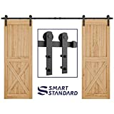 "10ft Heavy Duty Double Door Sliding Barn Door Hardware Kit - Super Smoothly and Quietly - Simple and Easy to Install - Includes Step-by-Step Installation Instruction - Fit 30"" Wide Door Panel(I Shape)"