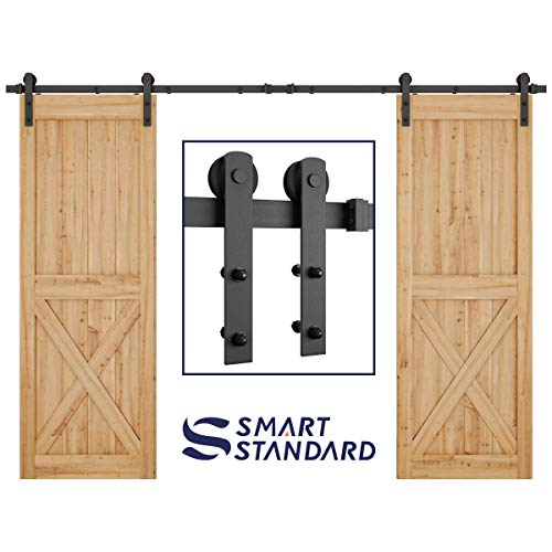 10ft Heavy Duty Double Door Sliding Barn Door Hardware Kit - Super Smoothly and Quietly - Simple and Easy to Install - Includes Step-by-Step Installation Instruction - Fit 30