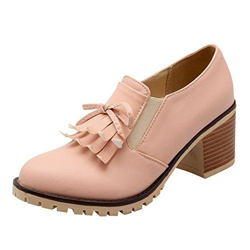 Latasa Womens Tassel Slip On Chunky Heels Loafers Shoes Pink