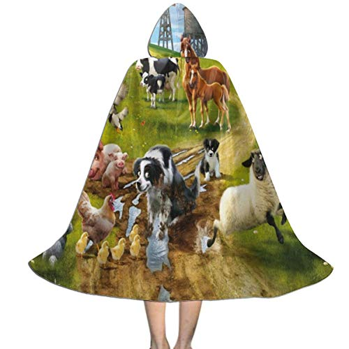 Marsh Farm Halloween (MFLLY Halloween Costumes Farm Horse Hooded Witch Wizard Cloak for Womens Mens Kids)