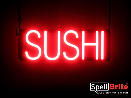 SpellBrite Ultra-Bright SUSHI Sign Neon-LED Sign (Neon look, LED performance) (Japanese Food Led Sign)