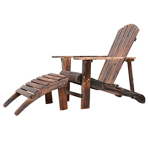 Outsunny Wooden Adirondack Outdoor Patio Lounge Chair w/ Ottoman – Rustic Brown