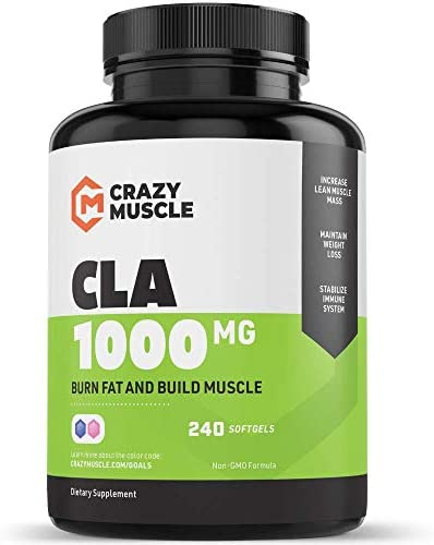 CLA Safflower Oil Pills 2 Month Supply 240 High Potency Non-GMO Softgels – Helps Increase Metabolic Rate Which Burns More Calories Fast – 1000 mg CLA Supplements by Crazy Muscle