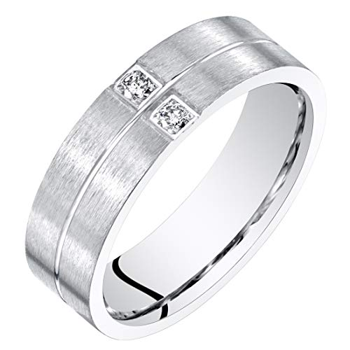 Mens Genuine Diamond Wedding Ring Band Sterling Silver Comfort Fit 6mm Size 14 ()