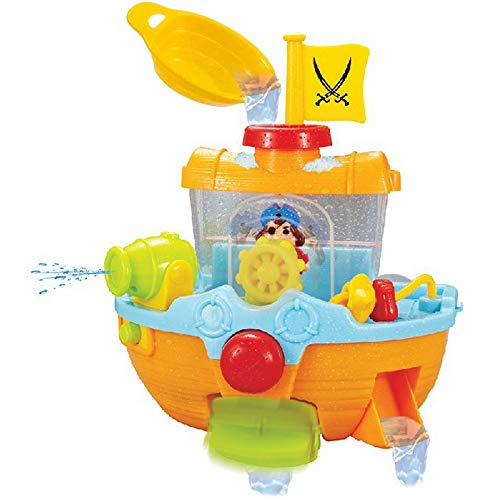 Liberty Imports Wall Mountable Pirate Ship Bathtub Bath Toy for Kids with Water Cannon and Boat Scoop ()