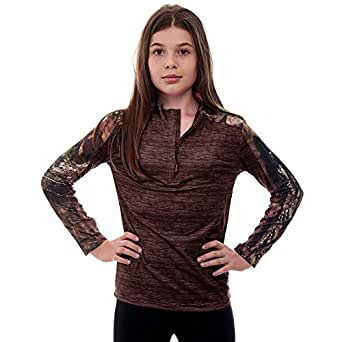 TrailCrest Kid's Mossy Oak Camo Impulse 1/4 Zip Performance Top - Moisture Wicking, 4 Way Stretch - Perfect Outwear and Fitness Apparel