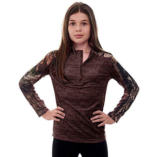 Shirt Zip Impulse 1/4 - Kid's Mossy Oak Camo Impulse 1/4 Zip Performance Top - Moisture Wicking, 4 Way Stretch - Perfect Outwear and Fitness Apparel