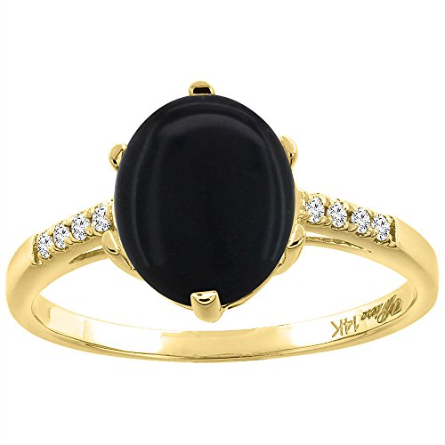 14K Yellow Gold Natural Black Onyx & Diamond Ring Oval 10x8 mm, (14k Yellow Gold Onyx)