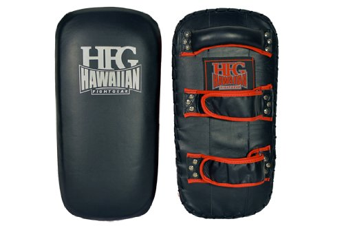 "Hawaiian Fight Gear-HFG Platinum Thai Pad Kick Shield Black/ Red 16"" X 8"" X 4"" by Hawaiian Fight Gear-HFG"