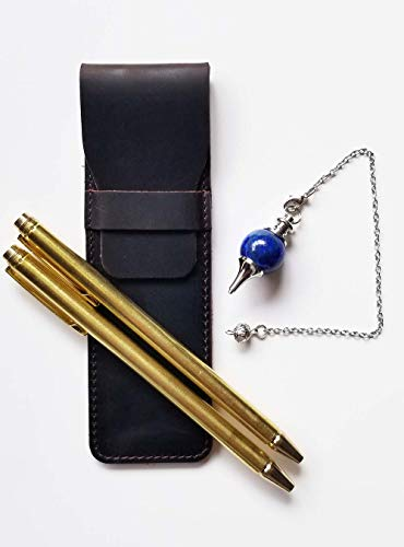 Dowsing Rod Kit - Pen Shape Retractable Divining Rods(2pcs)- Carriable  Exquisite Leather Case and Natural Lapis Pendulum Included - Ghost Hunting,