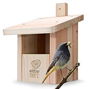 wildtier herz Nichoir Oiseaux Exterieur pour Rouge Gorge & Co. en Bois Massif – Vissé & Résistant aux Intempéries, Demi…
