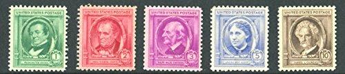 (Famous American Authors: Washington Irving, James Fenimore Cooper, Ralph Waldo Emerson, Louisa May Alcott, Samuel Clemens (Mark Twain) Complete Set of 5 US Postage Stamps (Scott #859-63))