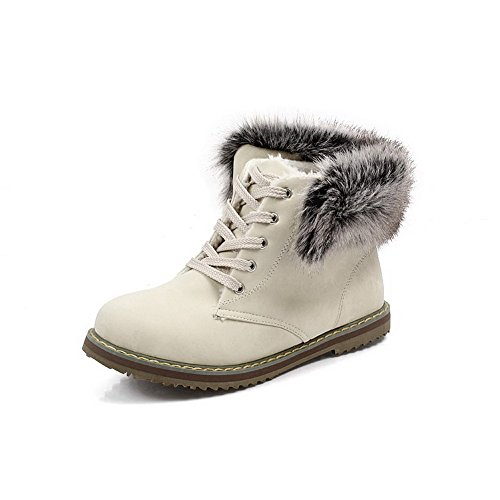 Material Solid Lace Closed Low Toe Soft Boots Round Women's Heels AgooLar Beige up A81HqH