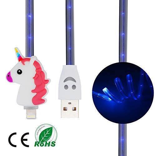 STSNano Cute Unicorn LED Lighting Up Charging Cable For iPad 2 3 4 Mini Air,for Apple iPhone Xs Max/X/XR/8/7/6 Plus 5,Funny Kawaii Cartoon Fast USB Luminous Charger Cord for Kids Girls,Boys(iOS)