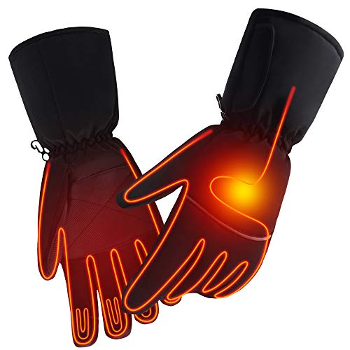 SPRING Rechargeable Electric Heated Gloves,Touchscreen Waterproof Cold Weather Thermal Heated Gloves,Hand Warmer Gloves for Hunting Fishing Skiing Camping Cycling (No Button)