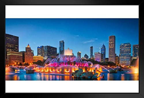 Chicago Skyline Buckingham Fountain Panorama at Night Photo Framed Poster 20x14 inch
