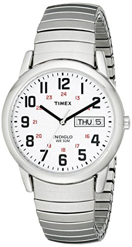 Timex+Men%27s+T20461+Easy+Reader+Silver-Tone+Stainless+Steel+Expansion+Band+Watch