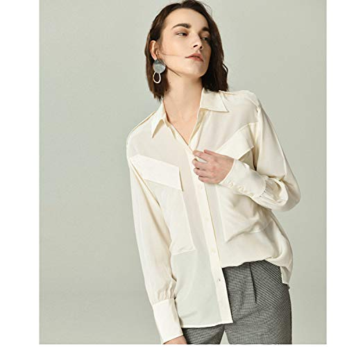 A Bianca Lunga Basica Blusa Top Camicia Seta Manica Di Sciolta Xcxdx Tuta qv5Y8Y