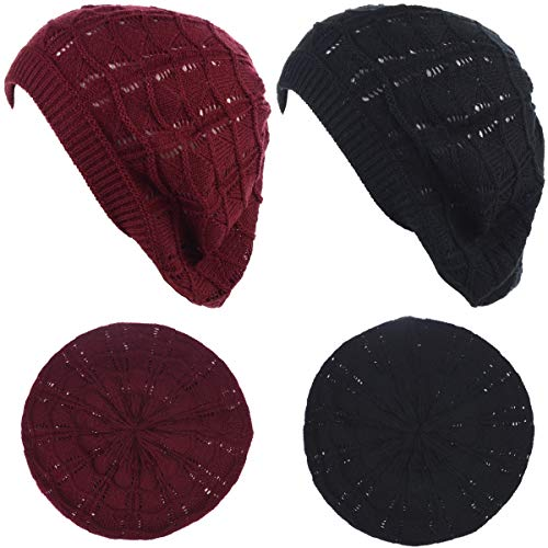 (BYOS Chic Soft Knit Airy Cutout Lightweight Slouchy Crochet Beret Beanie Hat)