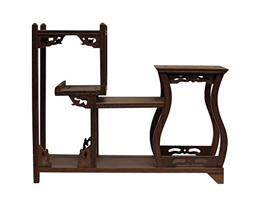 Brown Wood Tower Shape Small Table Top Curio Display Easel Stand Acs3701 by Small/Unique/Gift