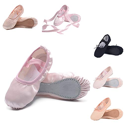 Ruqiji Ballet Shoes for Girls/Toddlers/Kids/Women, Satin Ballet Shoes/Ballet Slippers/Dance Shoes, Full Sole, Pink ()