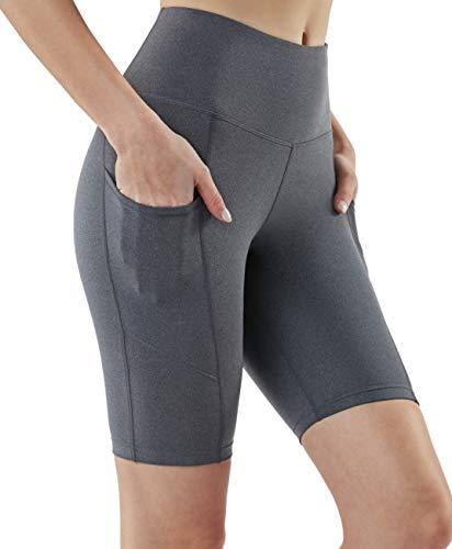 Contour Pocket - TSLA Active Bike Running Yoga Shorts Side/Hidden Pocket Series, Pocket Contour 9in(fys29) - Heather Charcoal, Medium (Size 8-10_Hip39-41 Inch)