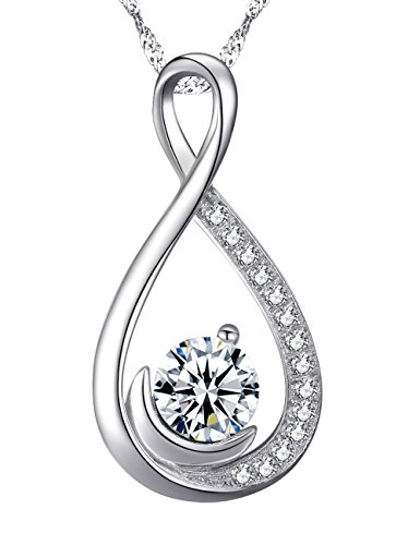 "❤️ Endless Love ❤️ Infinity and Moon Jewelry Gifts for Women for Wife Diamond Necklace Birthday Anniversary Gifts for Her for Lady Daughter Grandma Pendant Sterling Silver Swarovski 18""+2"" Chain"