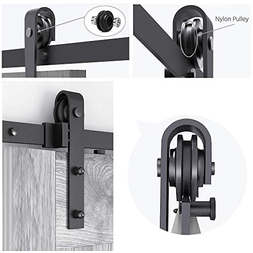 Yaheetech 8Ft Sliding Barn Door Hardware Kit Set Heavy Duty Sturdy Single Barn Door Track Antique Style Closet System Black by Yaheetech (Image #4)