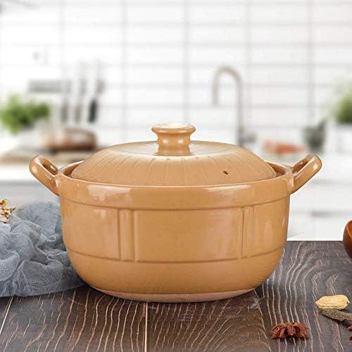 SCJ Accueil Pot à Soupe à Flamme Haute température, Casserole en céramique 3L, Fond Plat épaissi cuisinière à Induction de Grande capacité pour cuisinière à gaz, pour la Cuisine