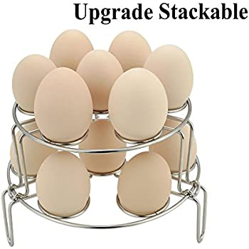 Kspowwin Upgraded 2 Pack Instant Pot Accessories Stackable Stainless Steel Egg Steamer Rack for Pressure Cooker and Cooking Pot (2-pack Stackable Rack)