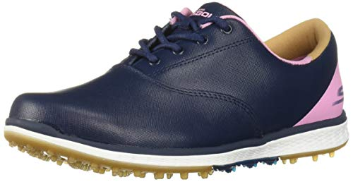 Skechers Women's Go Elite 2 Adjust Waterproof Golf Shoe, Navy/Pink 8.5 M US