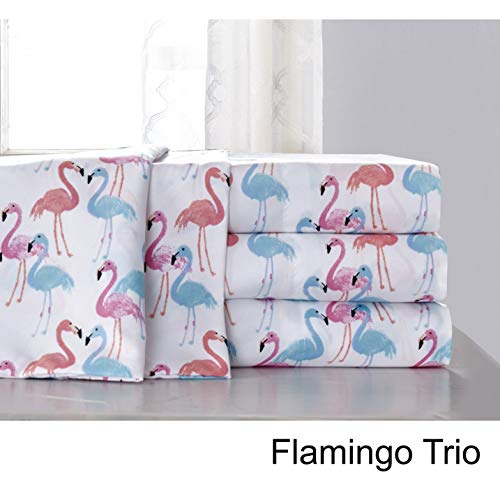 (Hedaya Home Fashions Flamingo Trio Tropical Watercolor Sheet and Pillowcase Set, Full/Queen,)