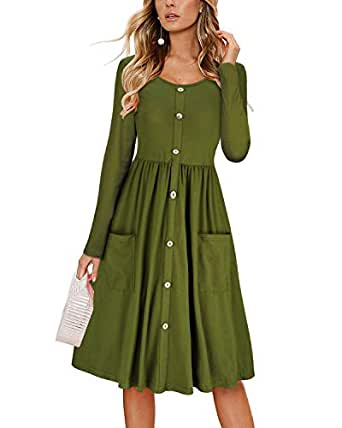 0569f98adc Image Unavailable. Image not available for. Color  KILIG Women s Dresses  Long Sleeve Casual ...