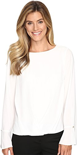 Vince Camuto Women's Flutter-Cuff Fold-Over Blouse New Ivory Blouse