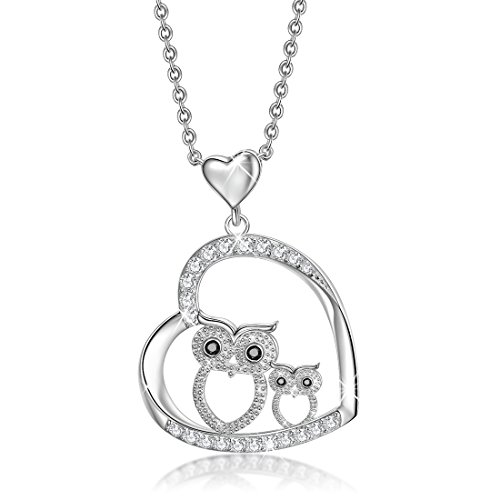 (YAXING Mother Daughter Owl Sterling Silver Crystal Lover Bird Pendant Necklace)