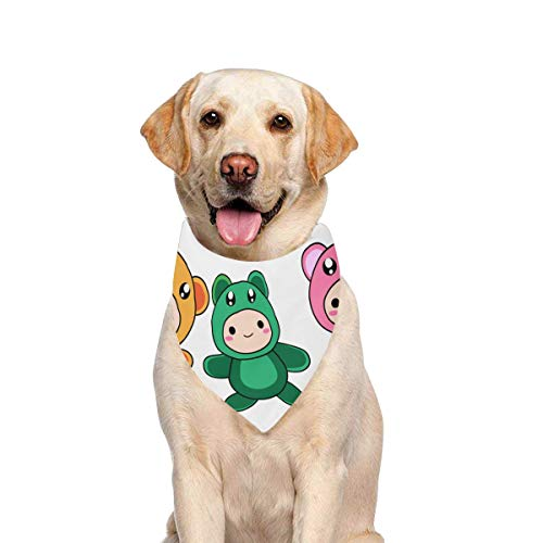 JTMOVING Dog Scarf Cute Baby Animal Clipart Printing Dog Bandana Triangle Kerchief Bibs Accessories for Large Boy Girl Dogs Cats Pets Birthday Party Gift