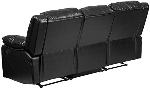 Flash Furniture Harmony Series Black LeatherSoft Sofa with Two Built-In Recliners