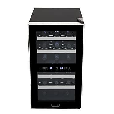 Whynter 18-Bottle Dual Zone Touch Control Stainless Trim Wine Cooler, Black (WC-181DS)