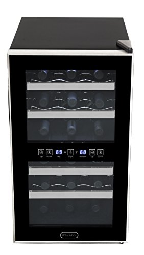 Whynter WC-181DS 18 Bottle Dual Zone Touch Control Wine Cooler, Black with Stainless Steel Trim (Recessed Steel Stainless Panel Control)