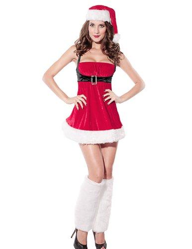VENI MASEE Frauen sexy Geheimnis Santa Kostüm / Frau Fräulein christmas santa Kostüm Kostüm Outfit, Rot, 4